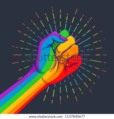 Rainbow colored hand with a fist raised up. Gay Pride. LGBT concept. Realistic style vector colorful illustration. Sticker, patch, t-shirt print, logo design. Stockfoto ©