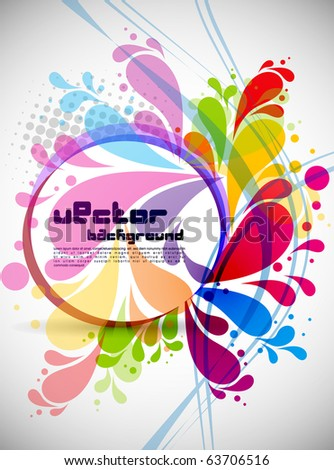 rainbow colored swirly background with splash