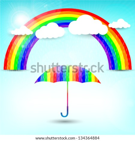 rainbow colored umbrella on a