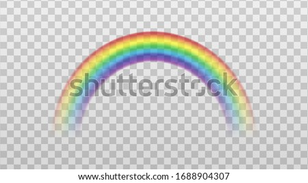 Rainbow colorful arch icon or sign mockup, realistic vector illustration isolated on transparent background. Spectrum fantasy translucent pattern template.