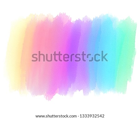Rainbow colorful watercolor hand drawn striped vecotr stroke for art design, decoration, banner, card, wallpaper. Abstract line smear liquid bright element for label, tag, illustration