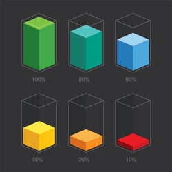 Rainbow colors chart glass bars 10% 20% 40% 60% 80% 100%, number. Flat design interface illustration inforchart infographic elements for app ui ux web banner button vector isolated on black background
