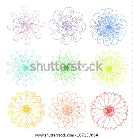 Rainbow colors flower, snowflakes vector