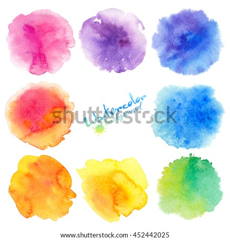Rainbow colors watercolor paint stains vector backgrounds set