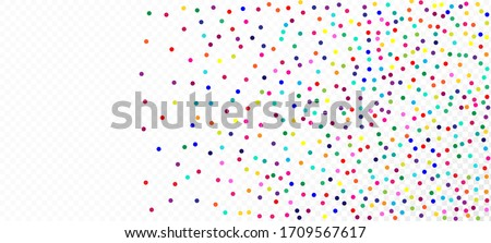 Rainbow Confetti Trendy Vector Background. Falling Down Bright Circles Frame. Christmas, New Year, Birthday Magic Decoration. Holiday Celebration Rainbow Confetti Falling. Carnival Motion Garland.