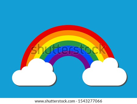 Rainbow decorative icon vector, isolated on background. Colorful graphic design illustration