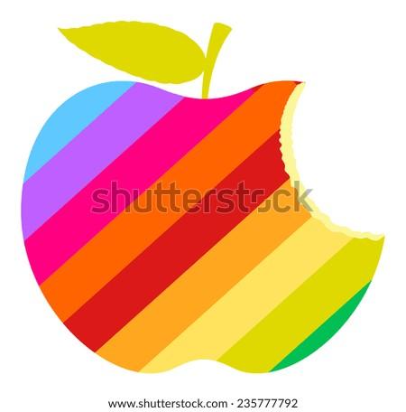 rainbow eaten apple