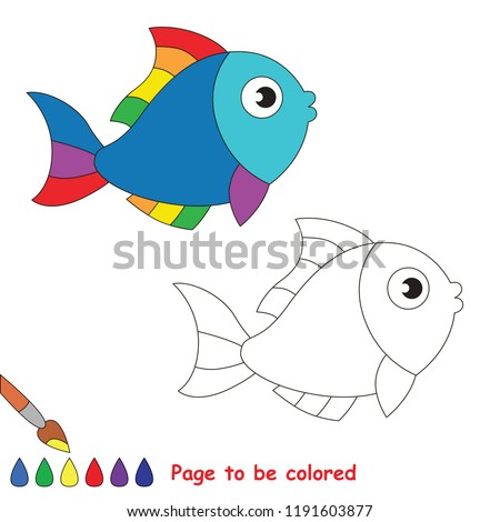 Rainbow Fish Animal to be colored, the coloring book for preschool kids with easy educational gaming level.