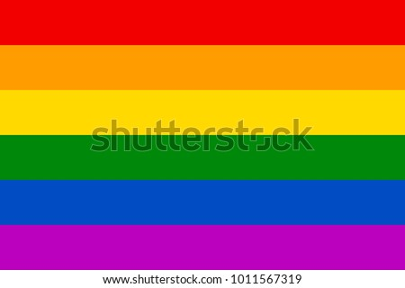 Rainbow flag movement lgbt, flat icon. Symbol of sexual minorities, gays and lesbians. Vector illustration of a colorful canvas
