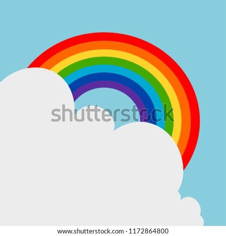Rainbow floating on the sky vector.