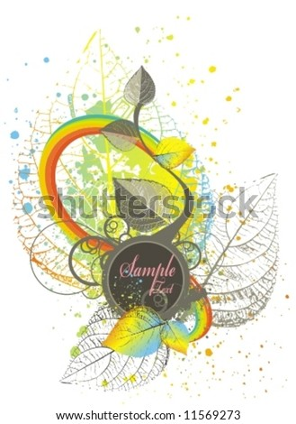 rainbow & floral ornaments with medallion on grunge background