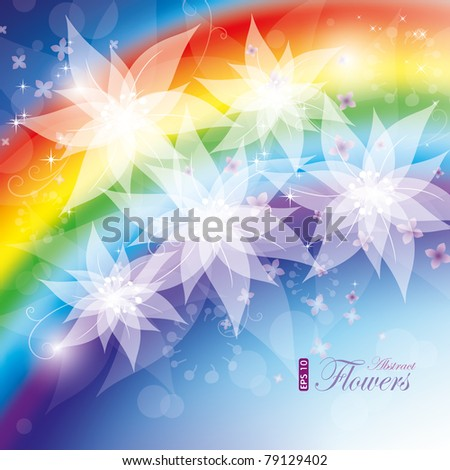 Rainbow flowers, vector illustration, contain gradient mesh, eps-10