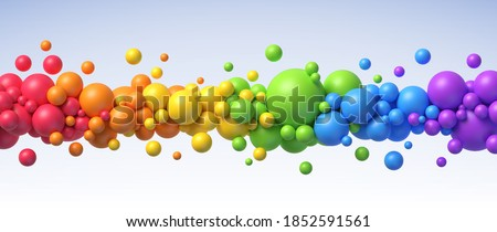 Rainbow flying spheres. Abstract composition with colorful balls in different sizes. Realistic vector background