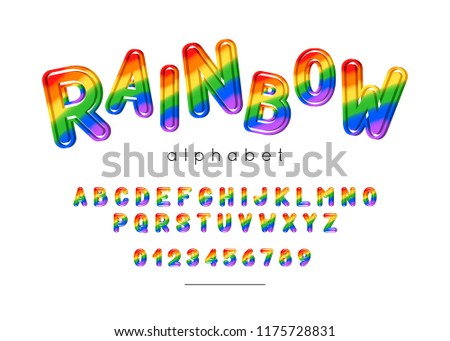 Rainbow font. Kids type with colorful  letters and numeral. Vector Alphabet for banner, poster, logo, greeting card, invitation.