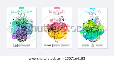 Rainbow geometric style. Disco light fluid art. Memphis prism summer poster set. Amoeba trendy background. Realistic tropic pineapple, flamingo, coconut drink for t-shirt print, music banner on white