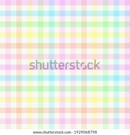Rainbow gingham plaid. Seamless vector plaid pattern suitable for fashion, interiors and Easter decor.