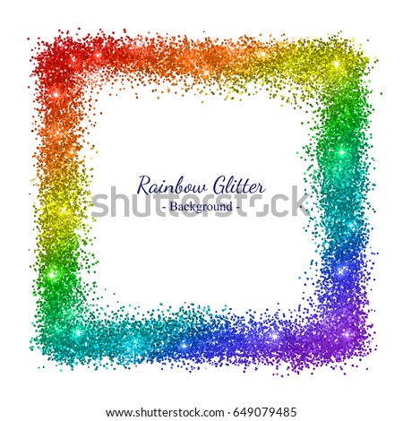 rainbow glitter square frame on