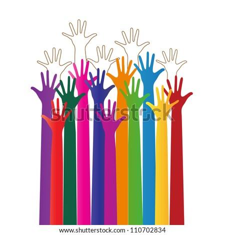 rainbow hands reaching - stock vector