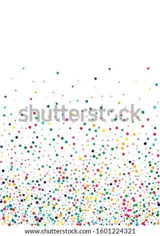 Rainbow Happy Confetti Background. White Decoration Polka Backdrop. Independence Backdrop. Celebration Orange Design.
