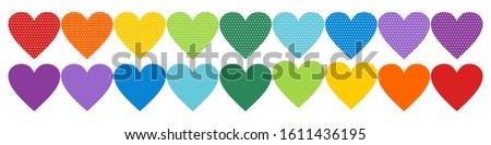 rainbow heart icons  lgbt pride
