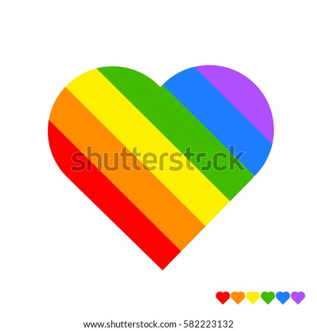rainbow heart on white