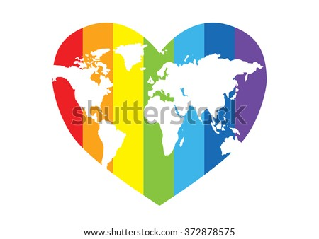 rainbow heart with a map of the