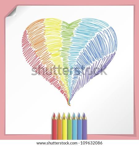 Rainbow Heart With Color Pencils