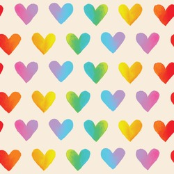 Rainbow hearts. Vector seamless pattern. Ombre texture. Multi color.