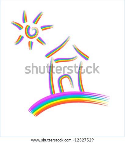 Rainbow House And Sun