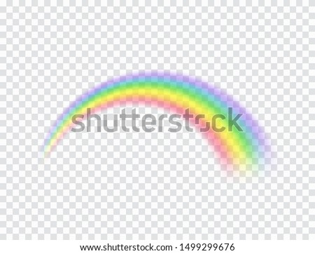 Rainbow icon isolated on transparent background. Spectrum fantasy rainbow pattern. Vector realistic translucent sky element template.