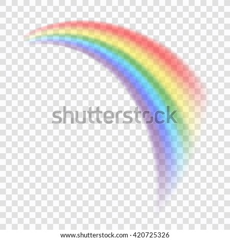Rainbow icon. Shape arch realistic, isolated on transparent background. Colorful light and bright design element for decorative. Graphic object. Vector illustration