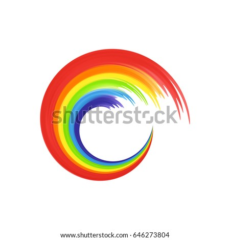 rainbow in abstract shape for