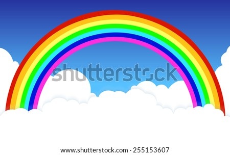 rainbow in clouds a background
