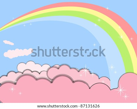 Rainbow in pink clouds