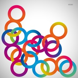 Rainbow loops chain, vector abstract background, design shape.