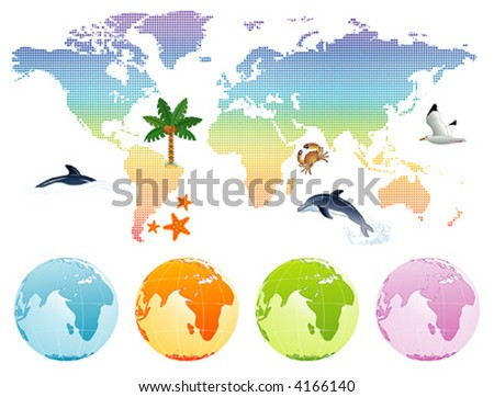 Rainbow map earth with dolphin, palm tree and globe, vector illustration