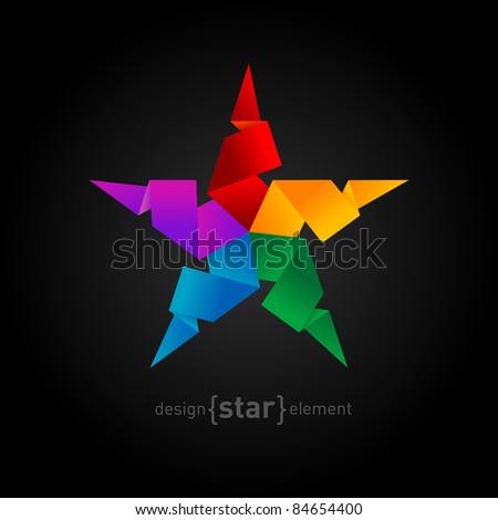 Rainbow Origami Star on black background. Company logo symbol