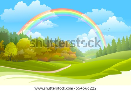 rainbow over a beautiful forest