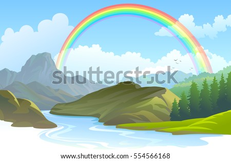 Rainbow over a landscape and a river flowing through a canyon