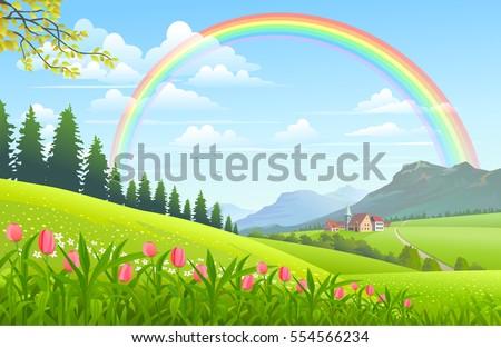 rainbow over a lovely village