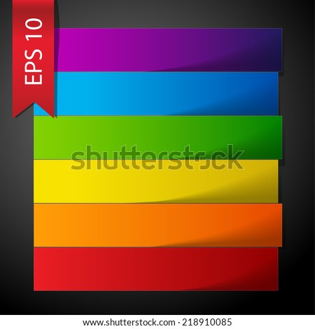 Rainbow paper stripe banners with shadows on dark grey background. RGB EPS 10 vector illustration
