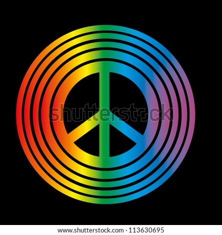 rainbow peace - stock vector