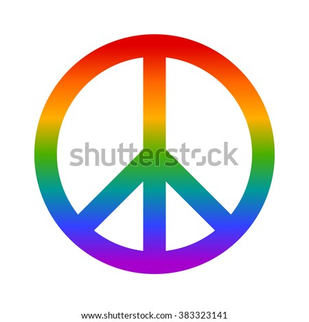 rainbow peace sign flat icon