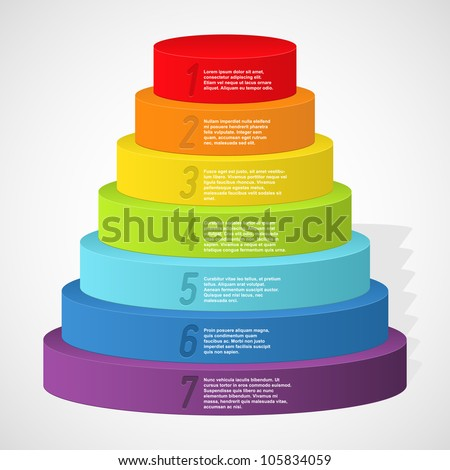 Rainbow pyramid with numbers. Vector illustration.