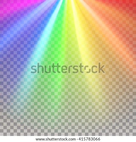 Rainbow rays. Color spectrum flare. Rainbow vector. Glaring effect with transparency. Abstract glowing light background. Graphic element for documents, templates, posters, flyers. Vector illustration