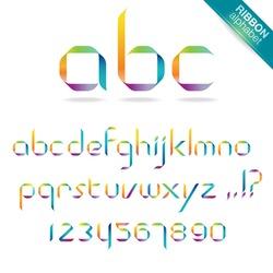 Rainbow ribbon alphabet
