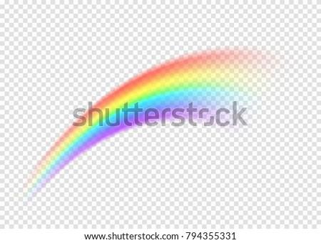 Rainbow smear isolated on transparent background. Realistic rain arch shape. Vector illustration