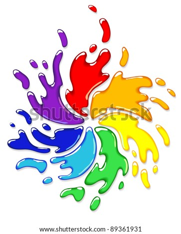 Rainbow splash with swirl. Vector illustration.