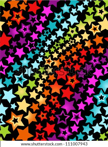 Rainbow stars seamless pattern