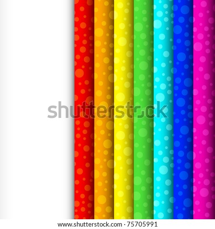 Rainbow strips, phased with circles. Easy to edit and change.